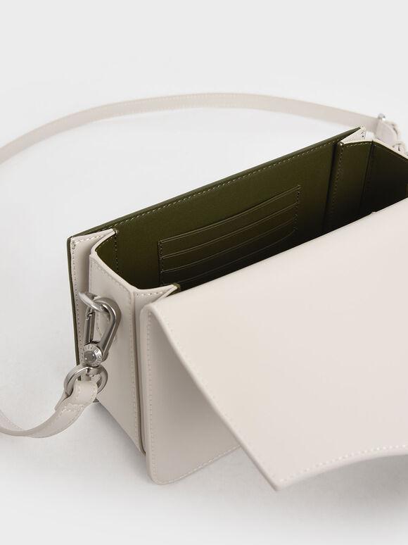 Two-Tone Turn-Lock Shoulder Bag, Olive, hi-res