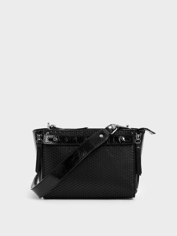 Rectangle Mesh Crossbody Bag, Black, hi-res