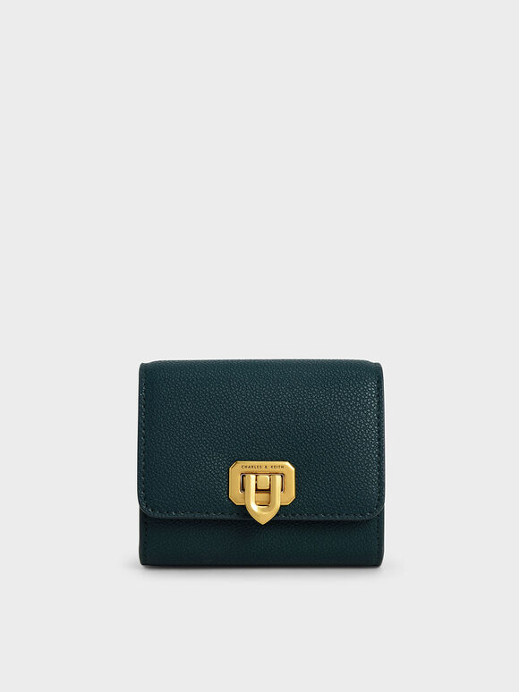 Classic Push-Lock Mini Wallet, Green, hi-res