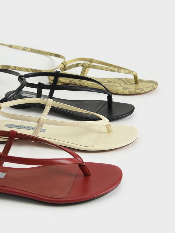 Snake Print Tie-Around Thong Sandals, Animal Print Yellow, hi-res