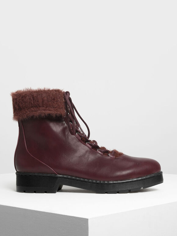 Furry Cuff Detail Combat Boots, Burgundy, hi-res