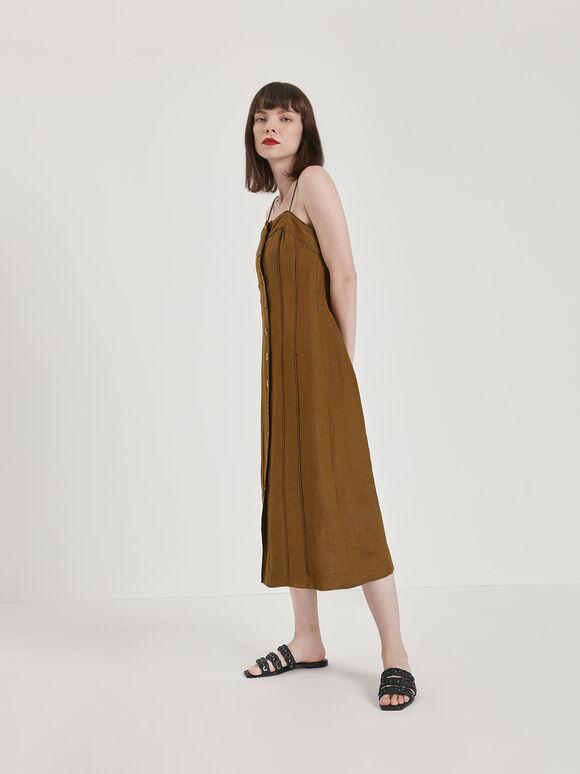 Weave Detail Leather Slide Sandals, Black, hi-res