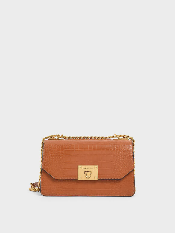 Croc-Effect Chain Strap Crossbody Bag, Cognac, hi-res