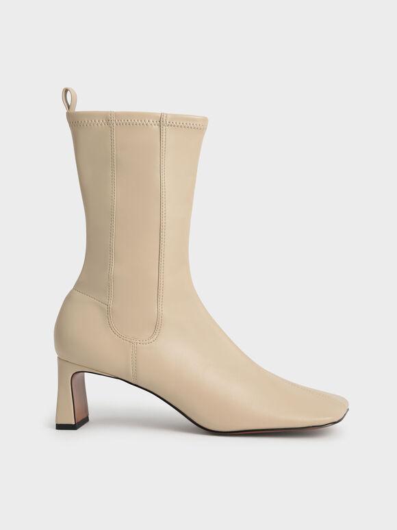 Stitch-Trim Slip-On Calf Boots, Sand, hi-res