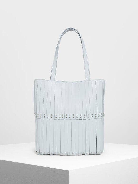 Full Fringe Tote Bag, Light Blue, hi-res