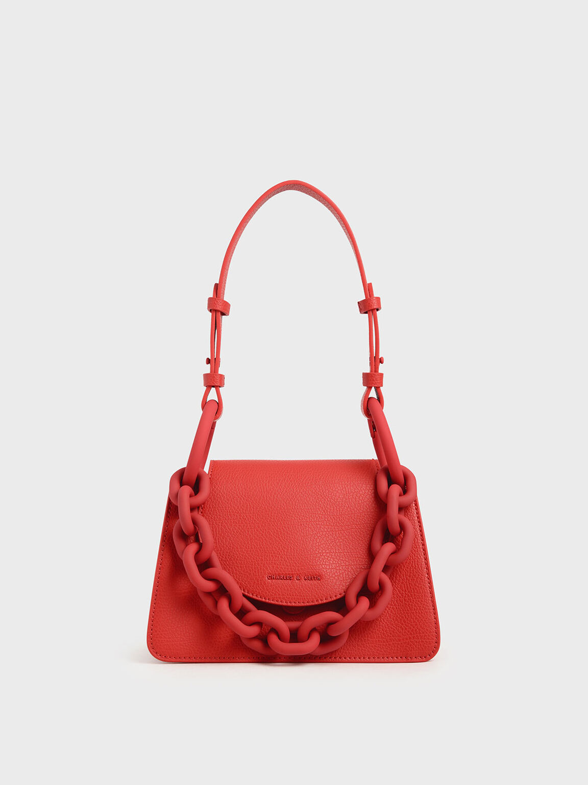 Chunky Chain Link Small Shoulder Bag, Red, hi-res