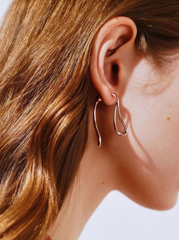 Two-Way Sculptural Drop Earrings, Rose Gold, hi-res