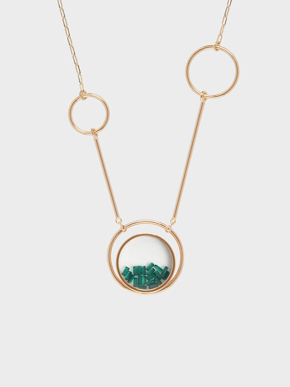 Swarovski®Crystal Emerald Stone Ring Detail Floating Locket Matinee Necklace, Copper, hi-res