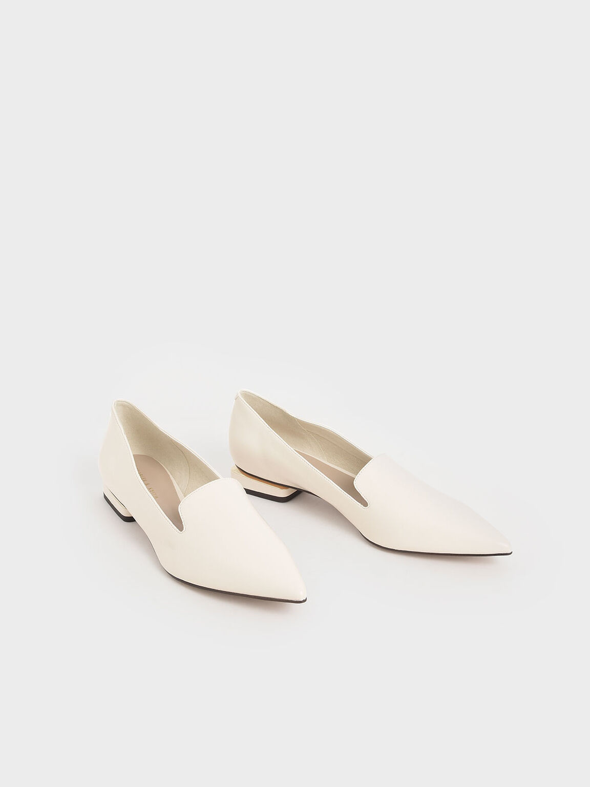 Metal Accent Heel Loafers, Chalk, hi-res