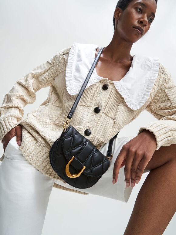 Mini Gabine Quilted Saddle Bag, Black, hi-res