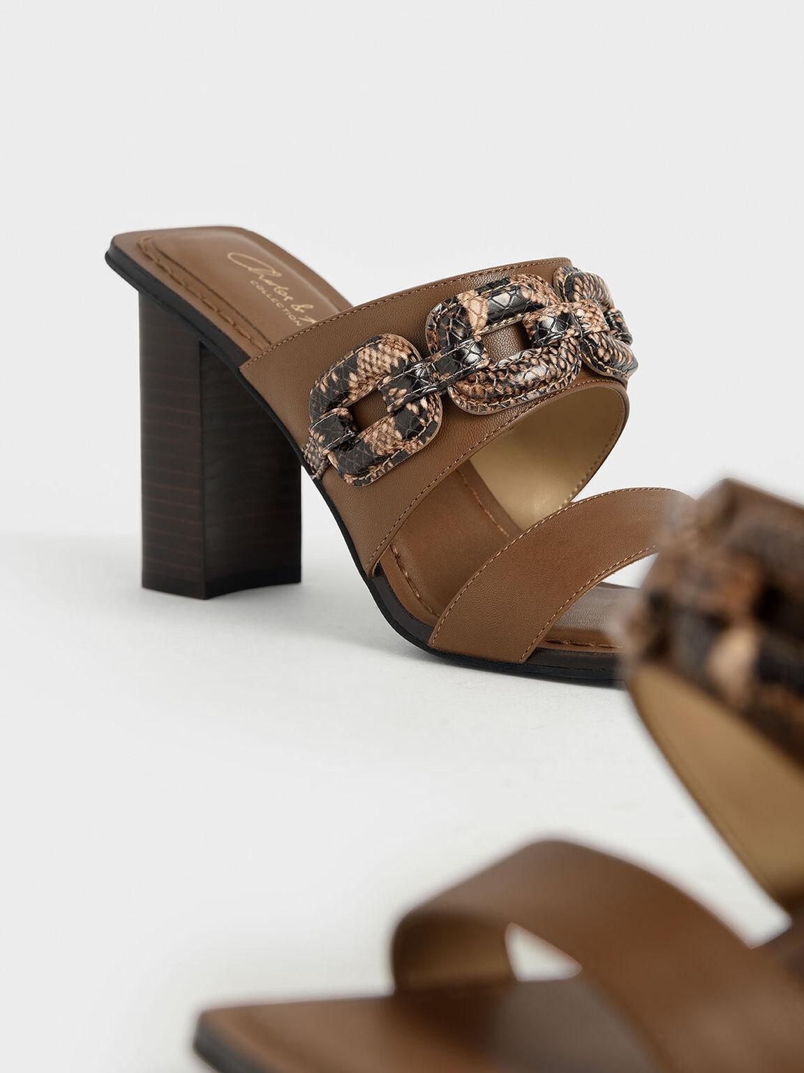 Leather Snake Print Mules, Brown, hi-res