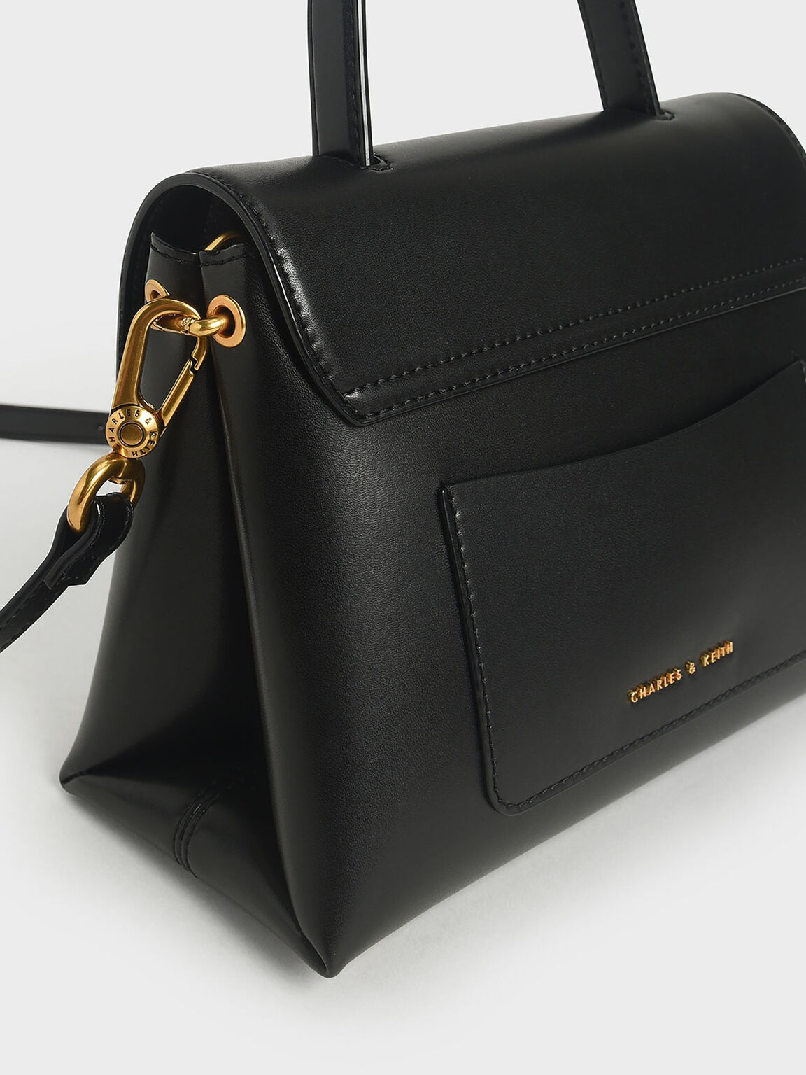 Stone-Embellished Handbag, Black, hi-res