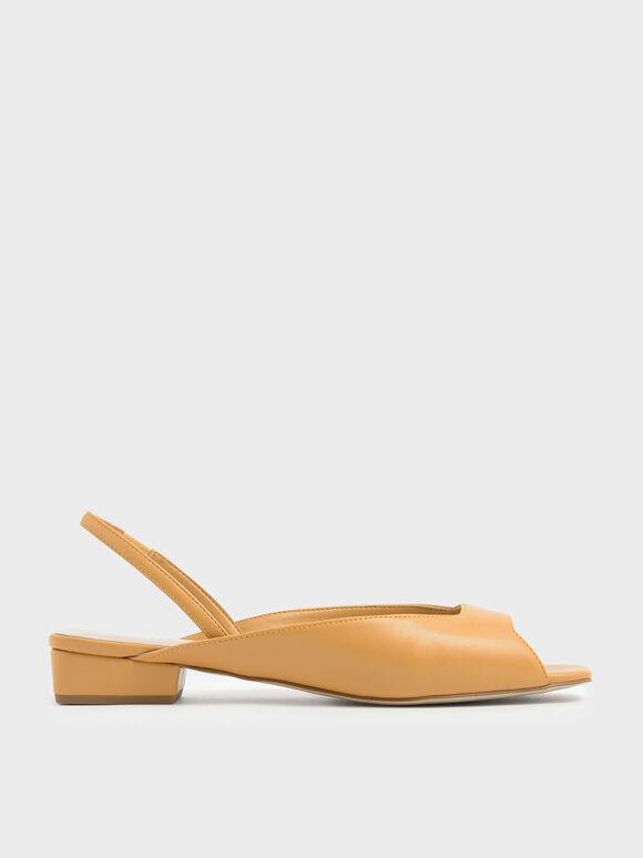 Square Toe Mini Block Heel Slingback Sandals, Mustard, hi-res