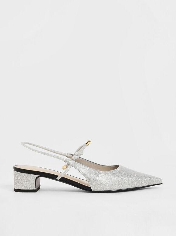 Glitter Front Tie Slingback Pumps, Silver, hi-res