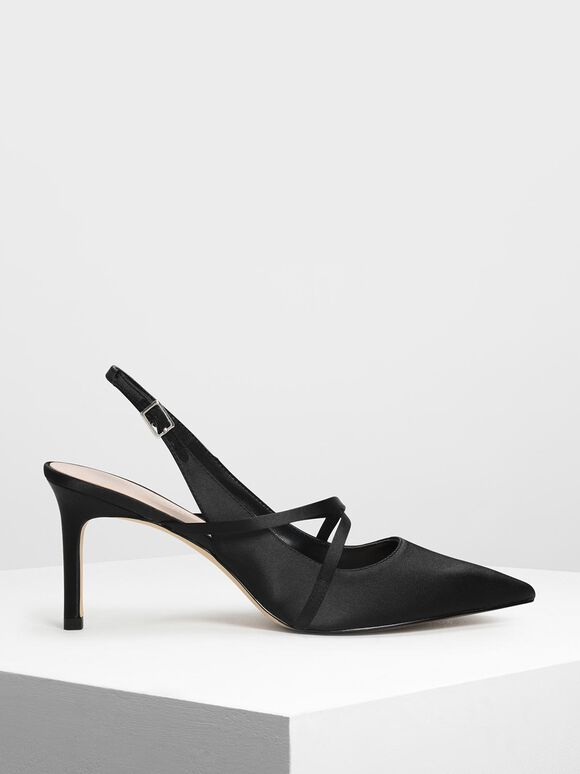 Criss Cross Satin Slingbacks, Black, hi-res