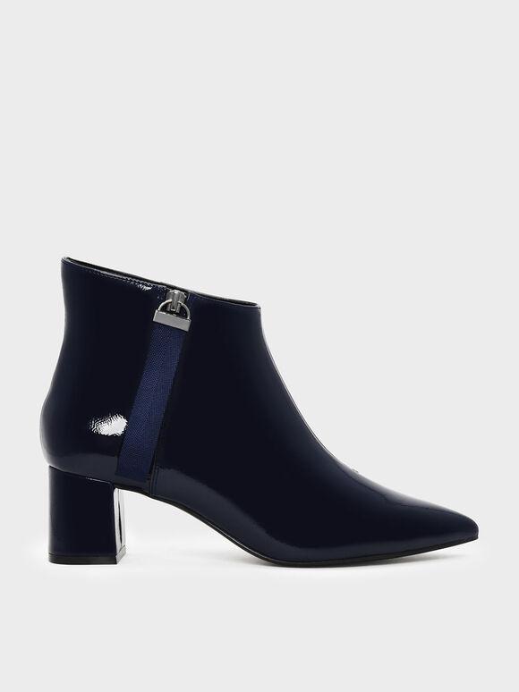 Nylon Strap Detail Pointed Boots, Dark Blue, hi-res