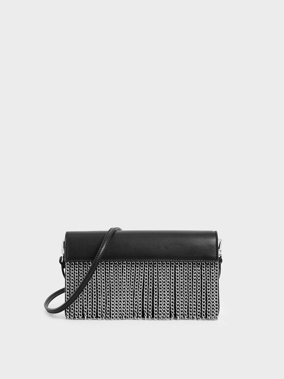 Chain Fringe Clutch, Black, hi-res
