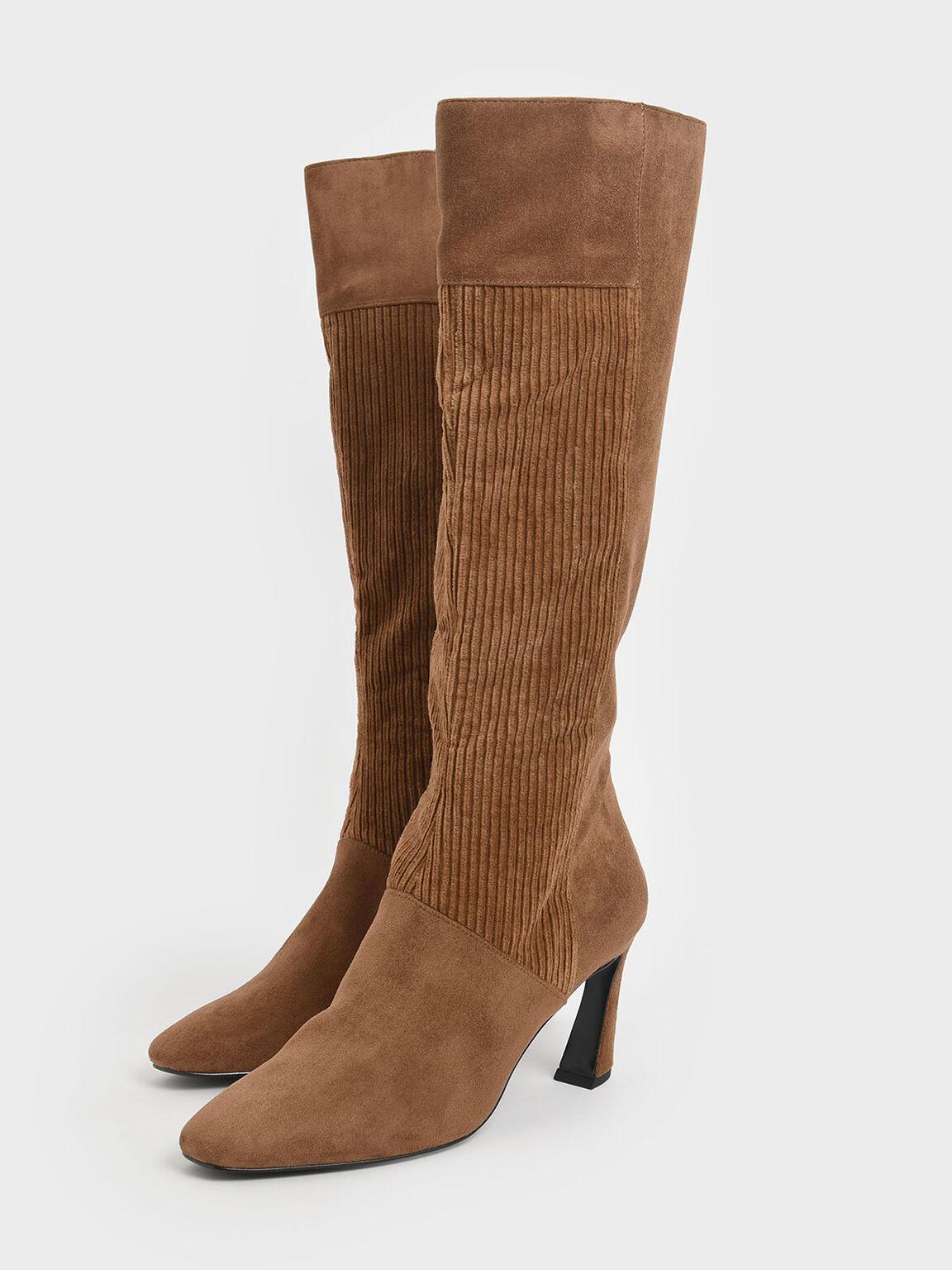 Corduroy Sculptural Heel Knee High Boots, Mustard, hi-res