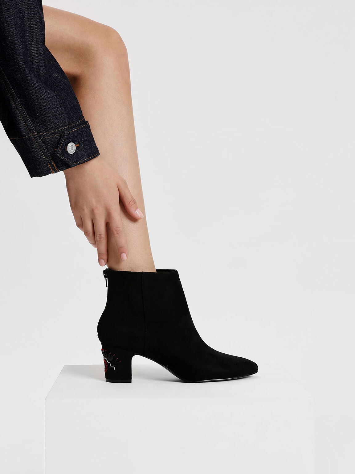 Textured Ankle Boots, Black, hi-res