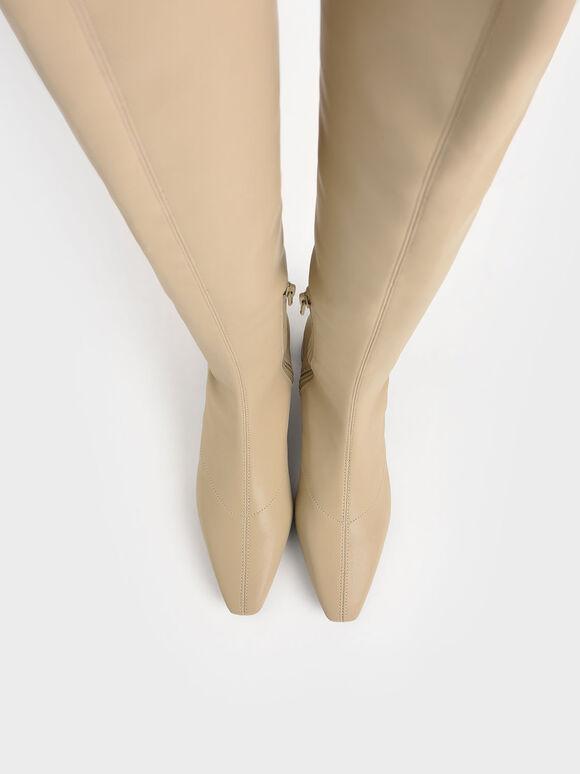 Thigh High Blade Heel Boots, Beige, hi-res
