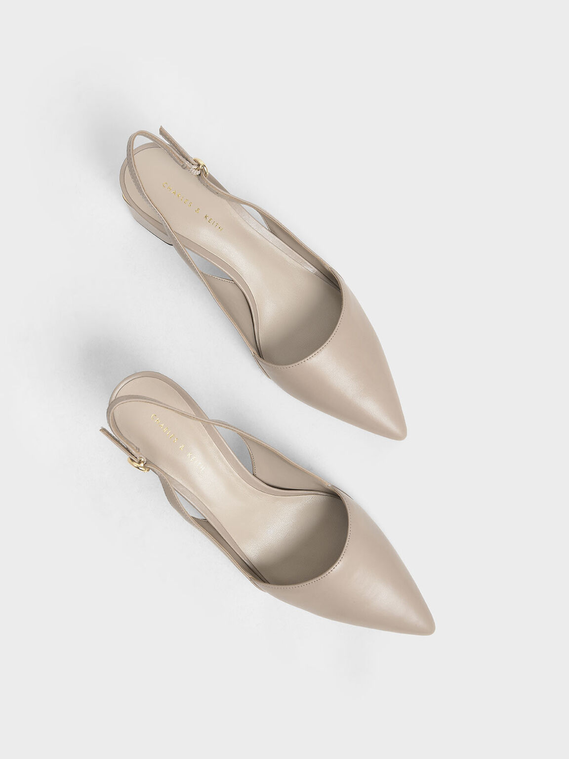 Pointed Slingback Heels, Taupe, hi-res