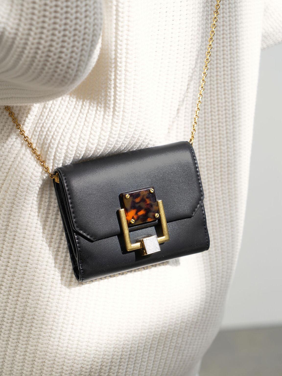Metallic Accent Mini Wallet, Black, hi-res