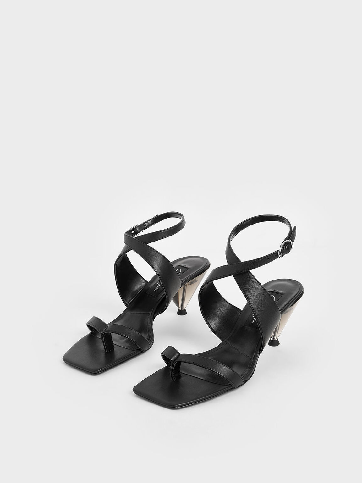 Leather Cone Heel Sandals, Black, hi-res