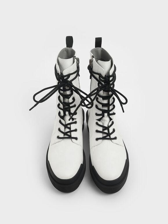 Lace Up Combat Boots, White, hi-res