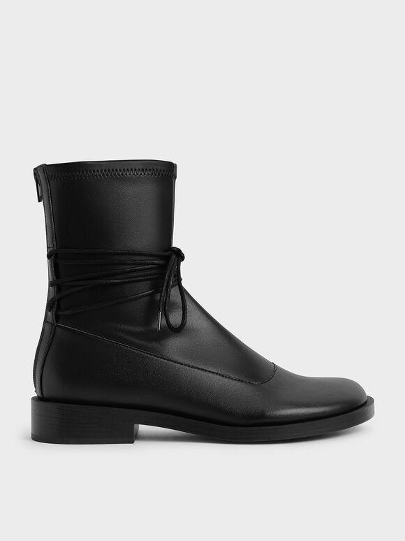 Lace-Detail Zip-Up Ankle Boots, Black, hi-res