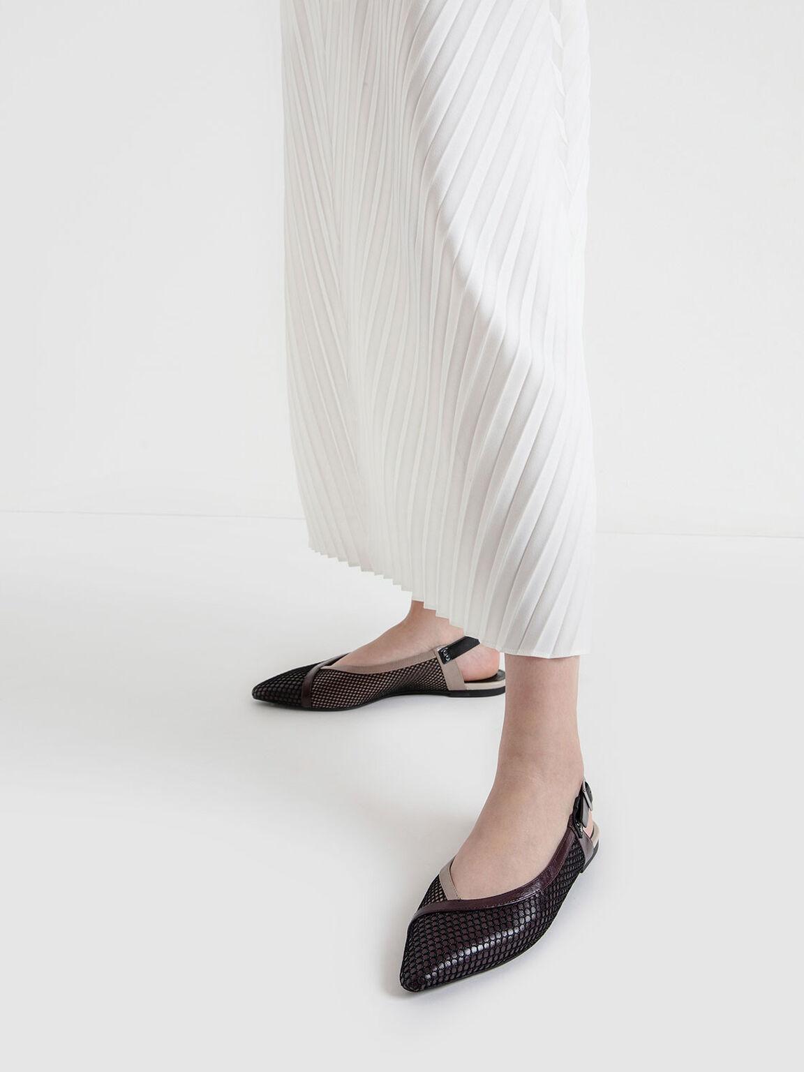 Mesh Pointed Toe Slingback Flats, Multi, hi-res