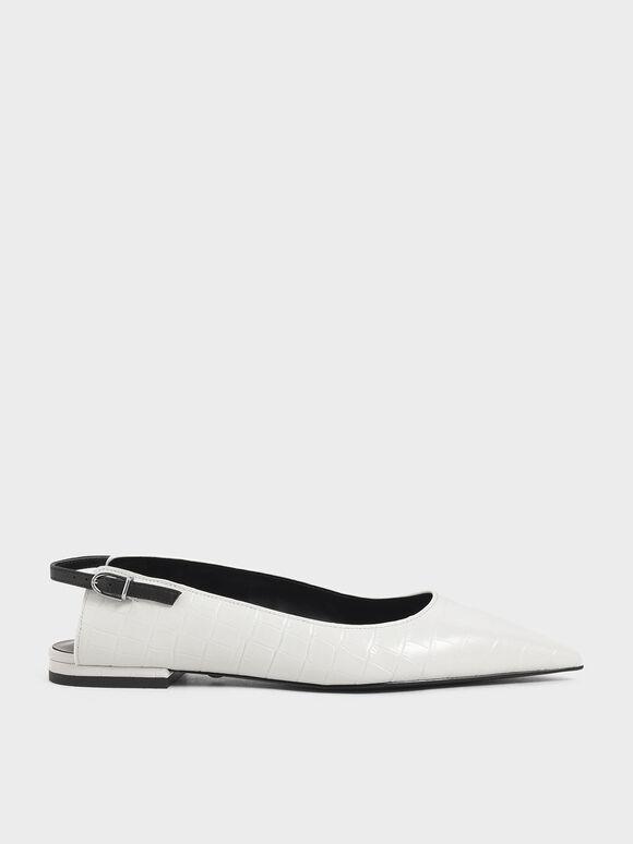 Croc-Effect Leather Ballerina Flats, White, hi-res