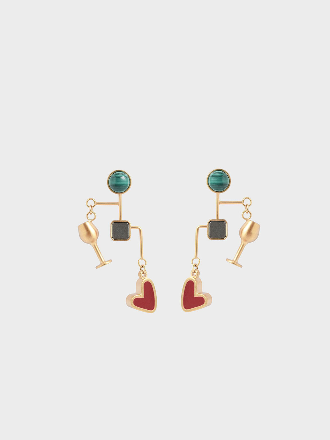 Malachite & Pyrite Gemstone Drop Earrings, Gold, hi-res