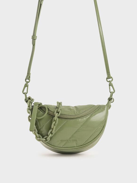 Glow-In-The-Dark Saddle Bag, Sage Green, hi-res