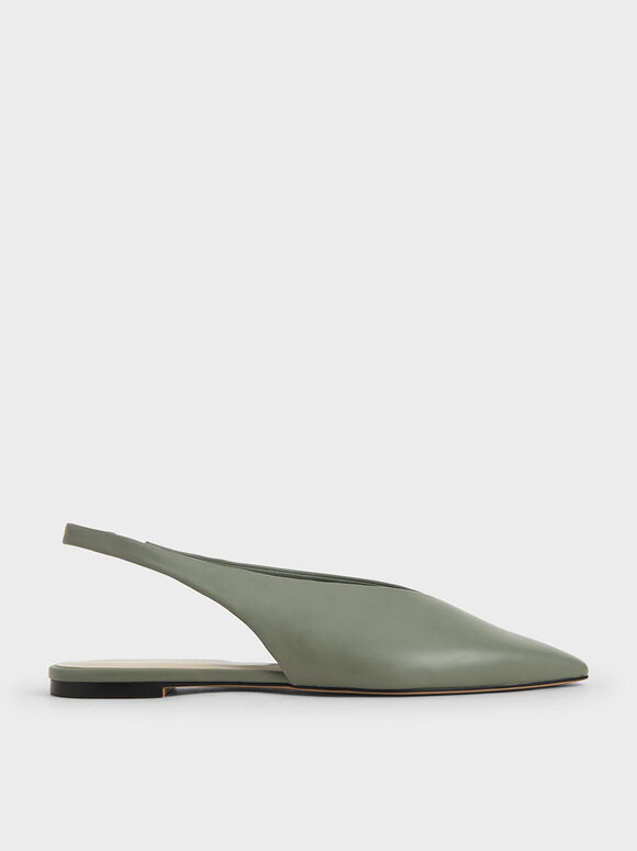 Pointed Toe Slingback Ballerinas, Sage Green, hi-res