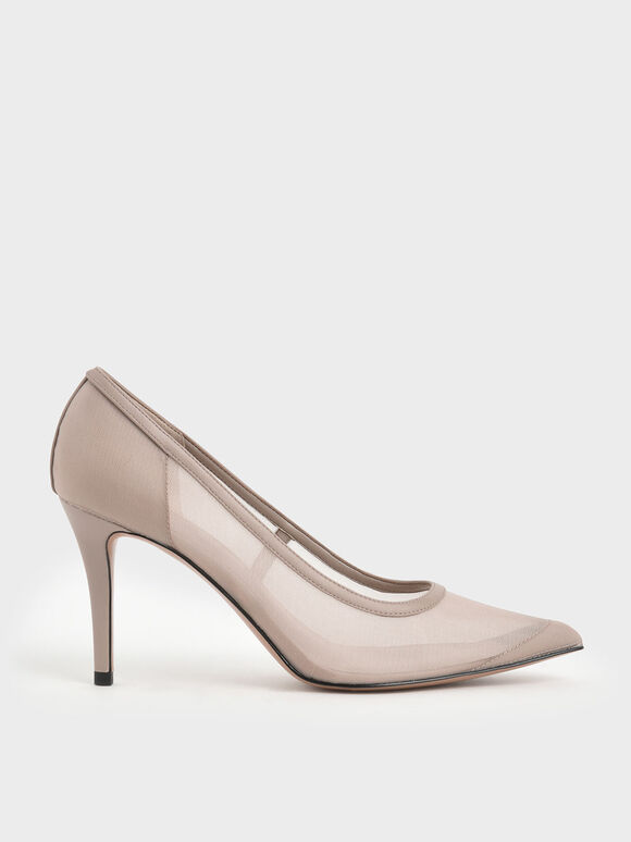 Mesh Stiletto Pumps, Nude, hi-res