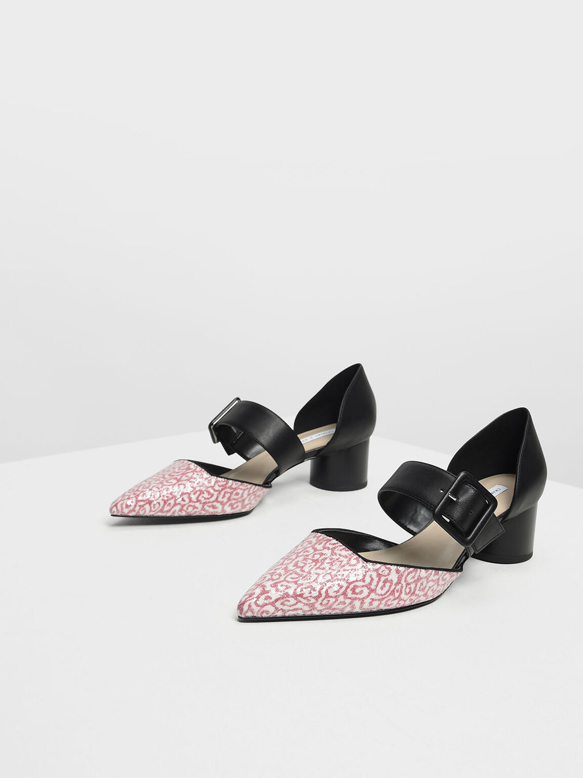 Glitter Mary Janes Buckle Pumps, Red, hi-res