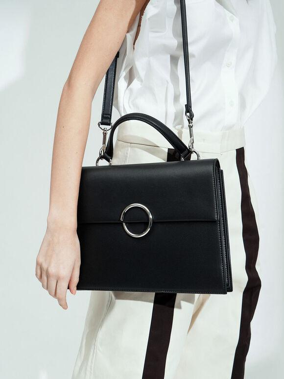 Ring Detail Large Top Handle Bag, Black, hi-res