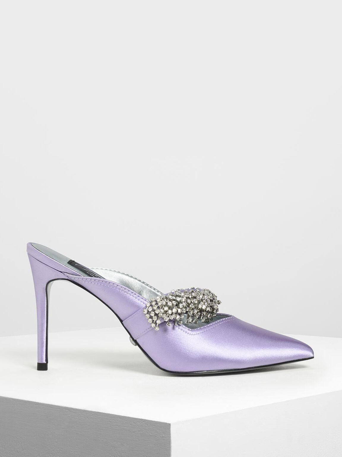 Embellished Satin Pointed Toe Heels, Lilac, hi-res