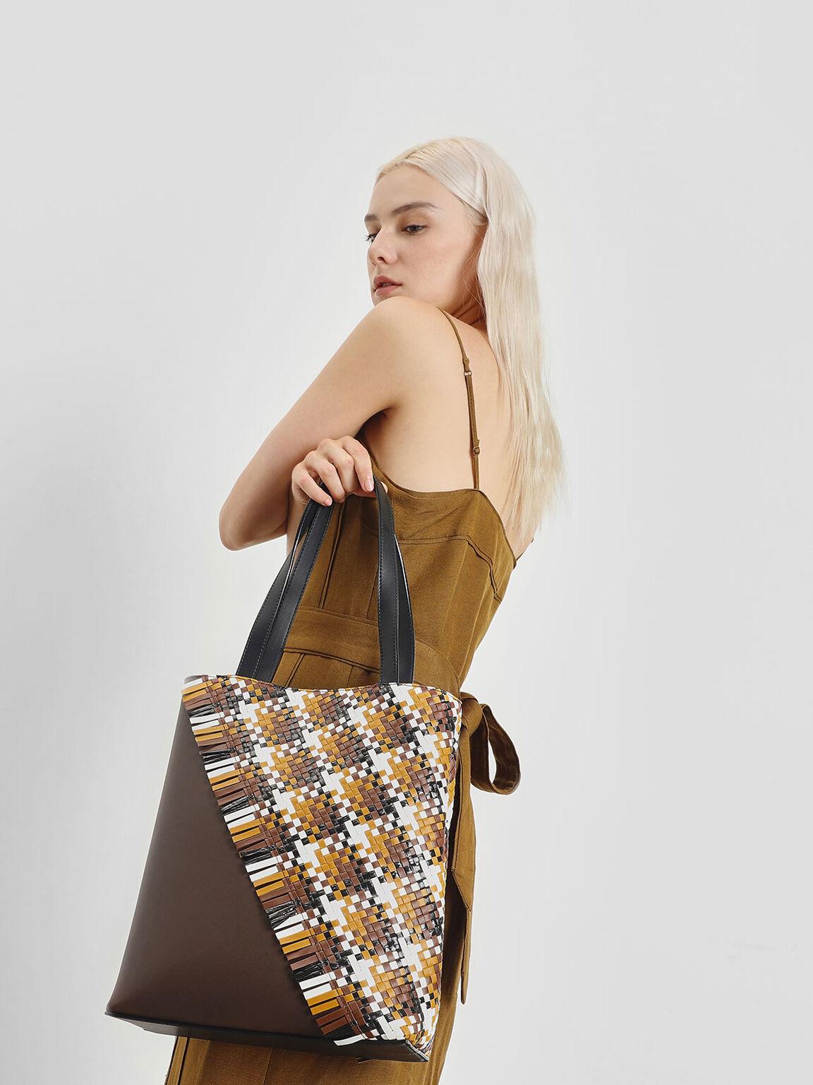 Woven Tote Bag, Dark Brown, hi-res
