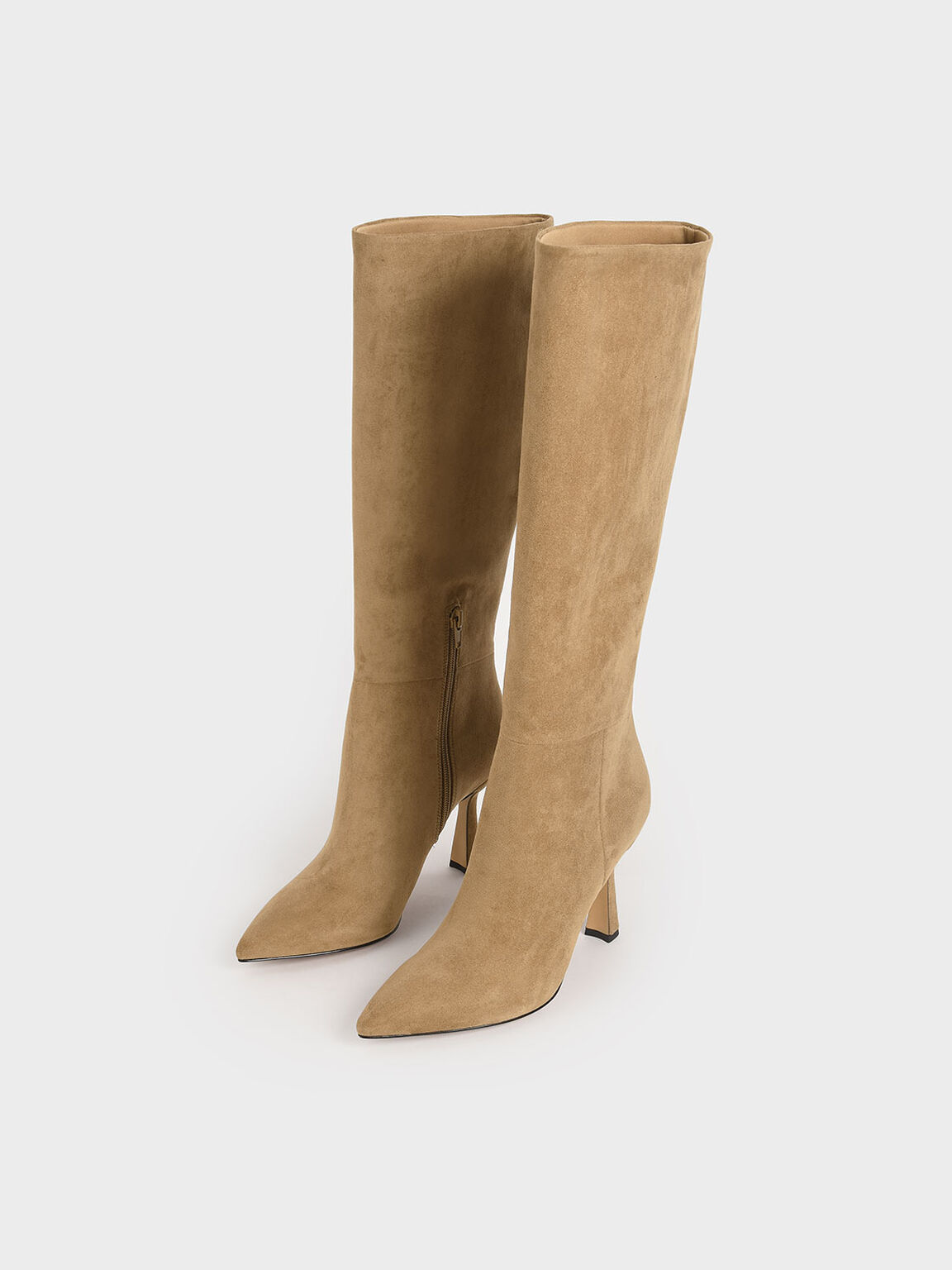 Textured Sculptural Heel Knee High Boots, Camel, hi-res