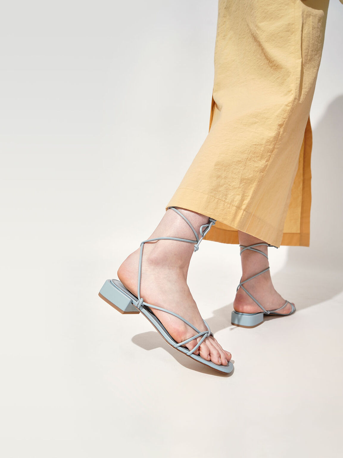 Strappy Ankle Tie Sandals, Blue, hi-res