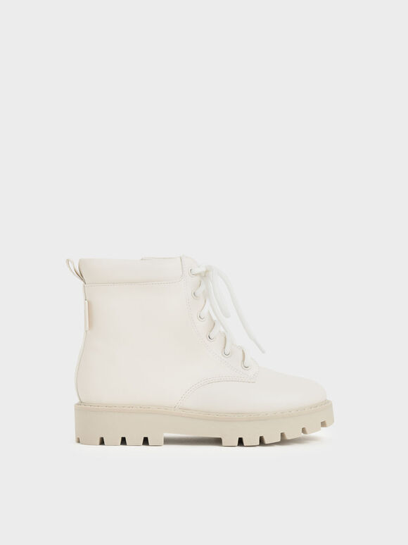 Girls' Lace-Up Ankle Boots, White, hi-res