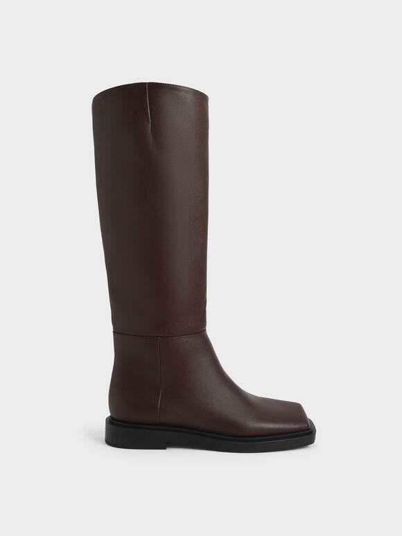 Square Toe Knee High Boots, Dark Brown, hi-res