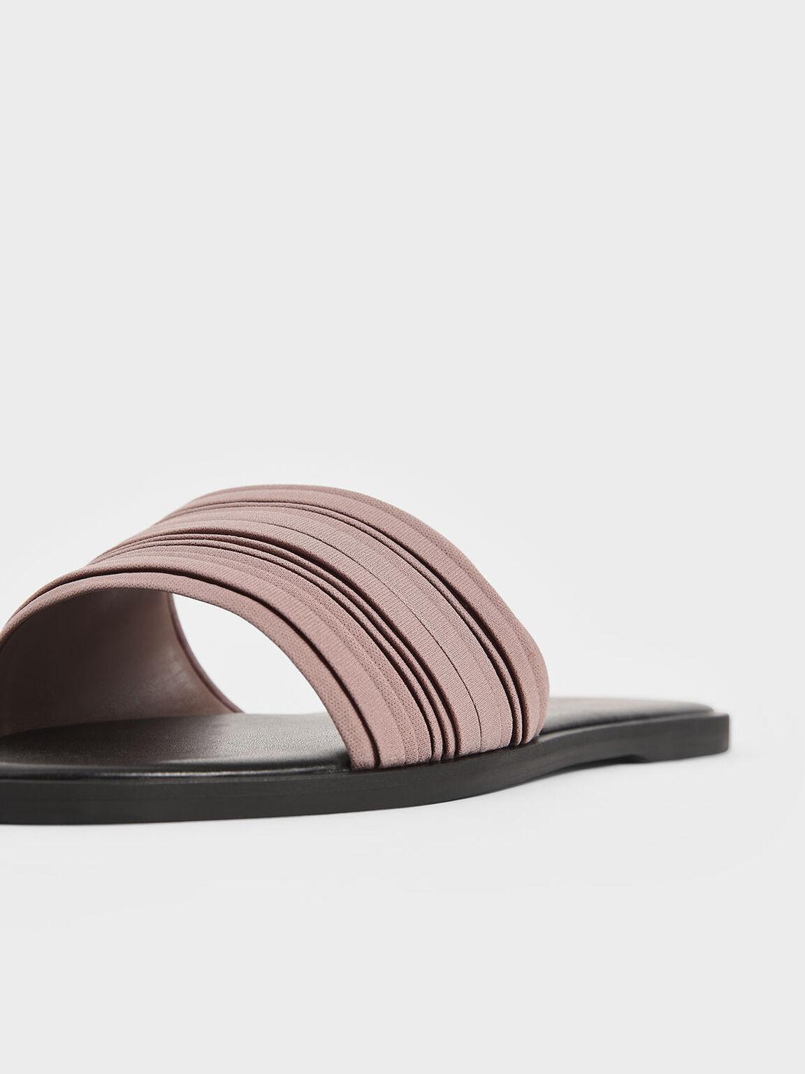 Pleated Slide Sandals, Mauve, hi-res