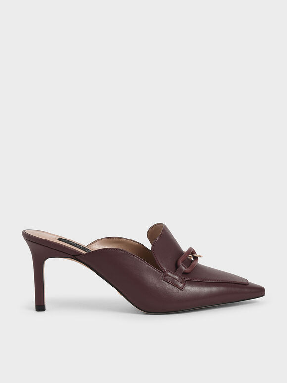 Embellished Leather Mules, Burgundy, hi-res