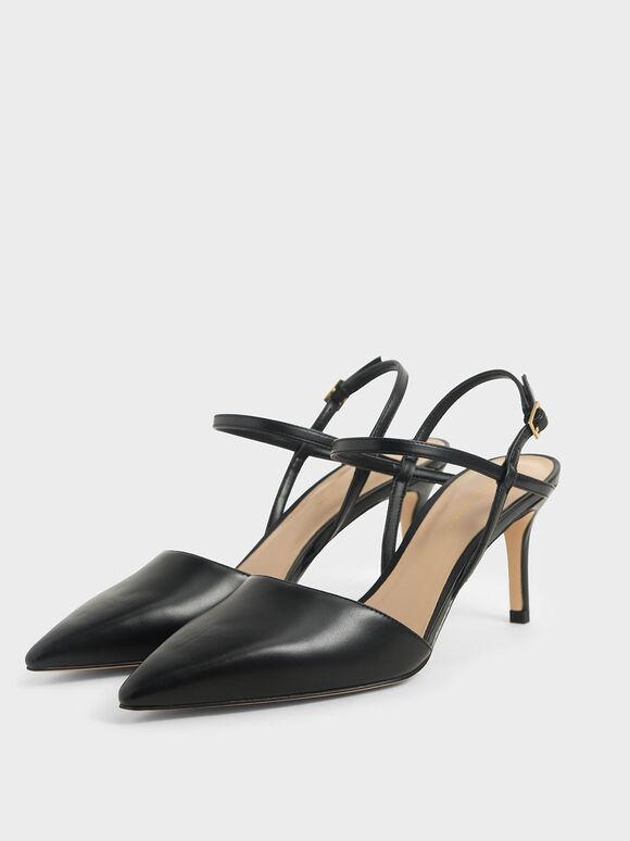 Ankle Strap Stiletto Court Shoes, Black, hi-res