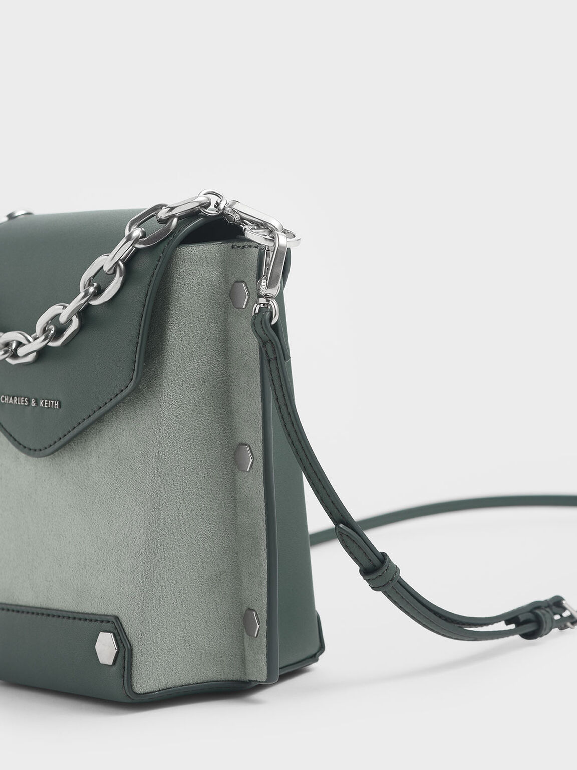 Stud Detail Textured Bag, Sage Green, hi-res