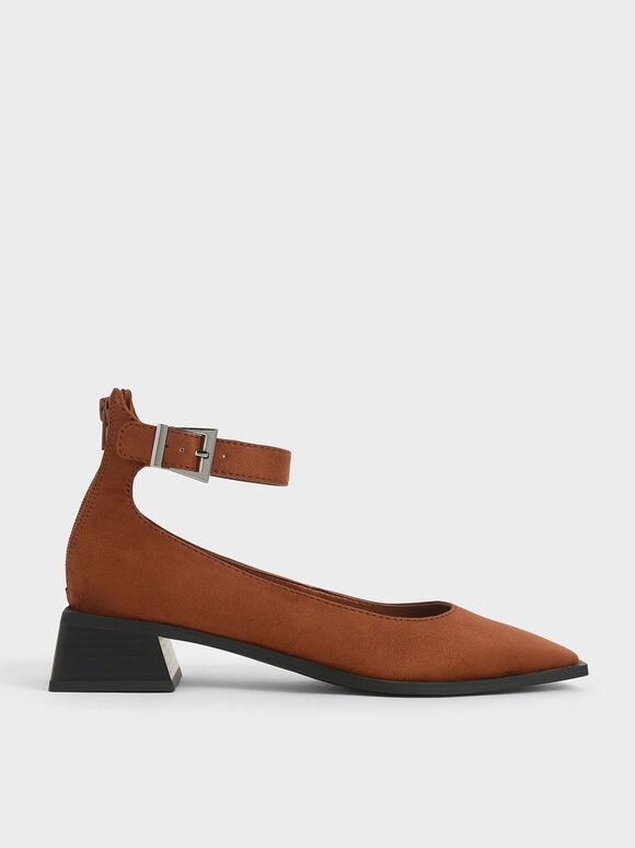 Textured Ankle Strap Square Toe Pumps, Brick, hi-res