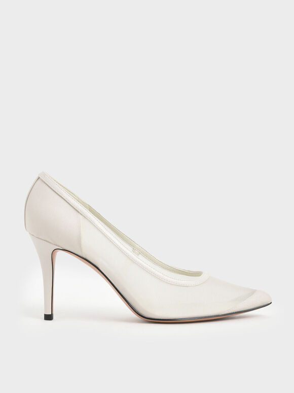 Mesh Stiletto Pumps, Cream, hi-res