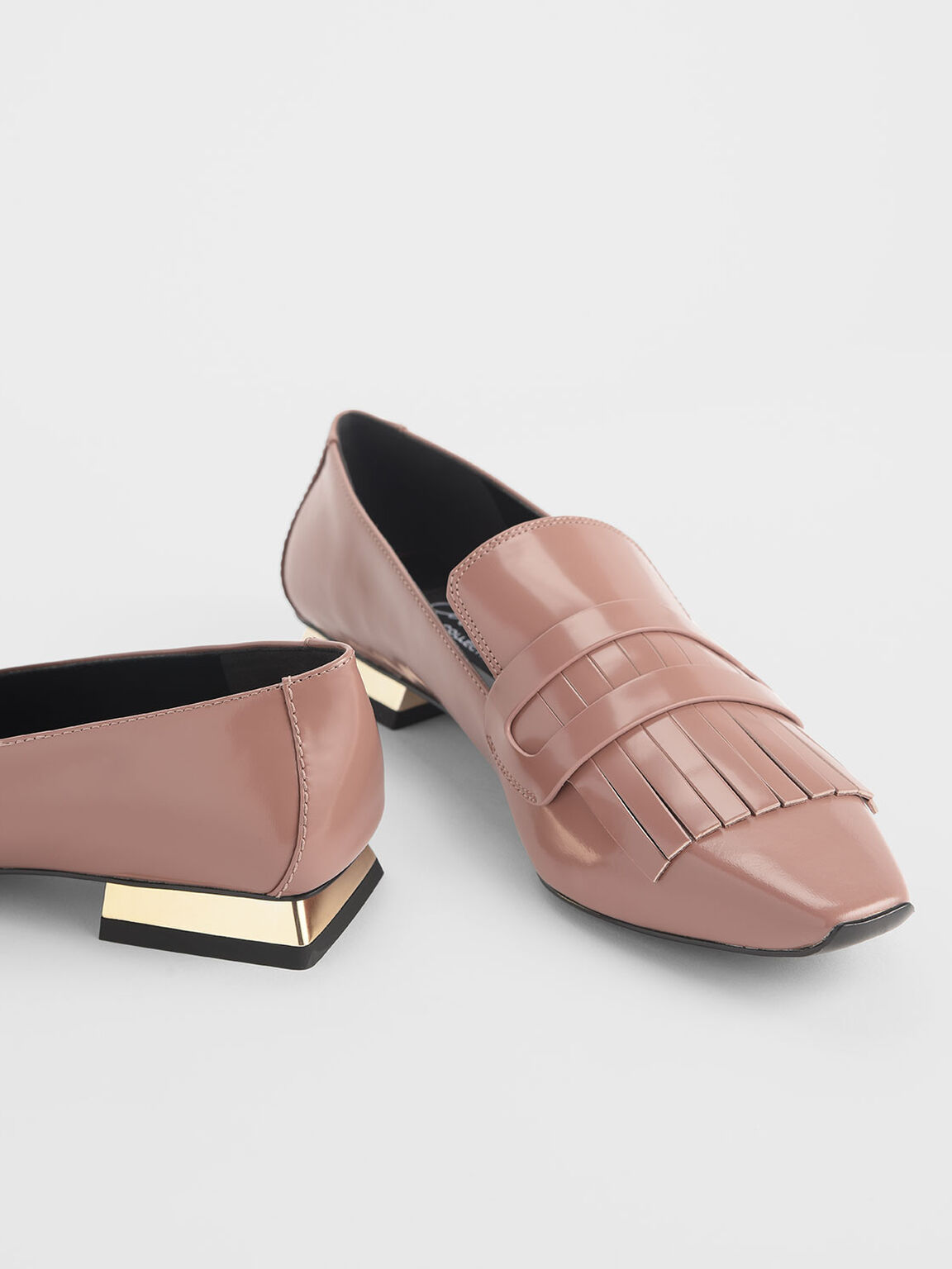 Fringed Leather Loafers, Blush, hi-res